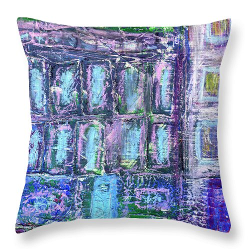 Street Throw Pillow featuring the painting Street Life by Wayne Potrafka