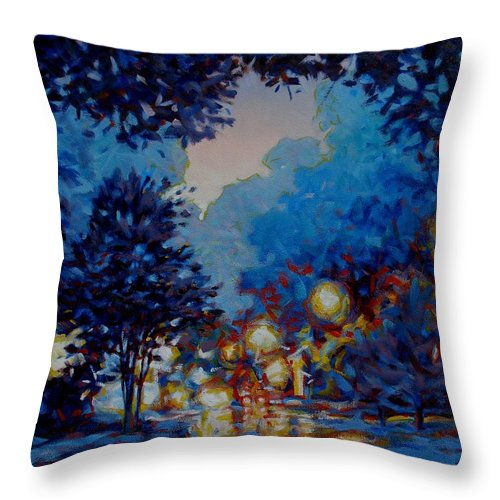 City Throw Pillow featuring the painting Street Lights by Kevin Lawrence Leveque