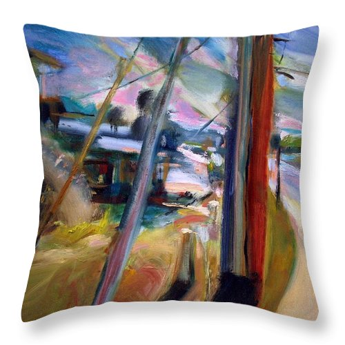 Dornberg Throw Pillow featuring the painting Street Pole by Bob Dornberg