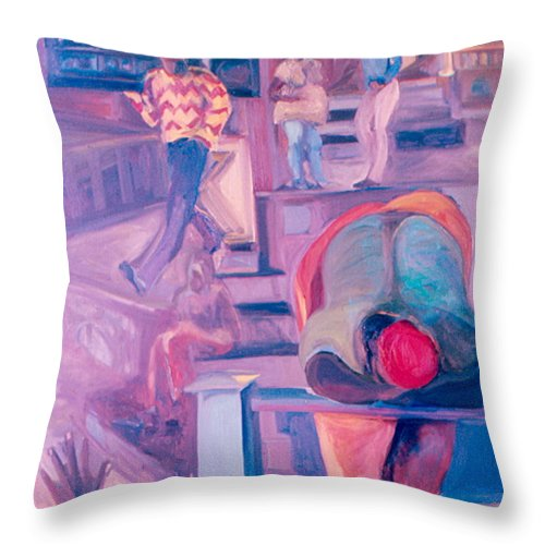 Oil Painting Throw Pillow featuring the painting Street Scenes by Daun Soden-Greene