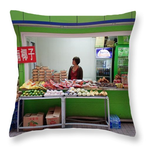 Stand Throw Pillow featuring the photograph Street Vendor Beijing by Thomas Marchessault