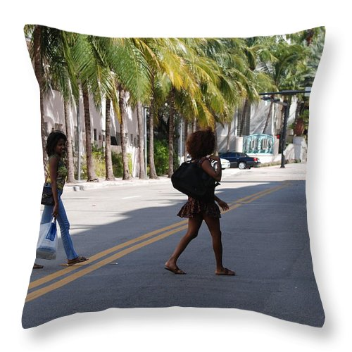 Girls Throw Pillow featuring the photograph Street Walkers by Rob Hans
