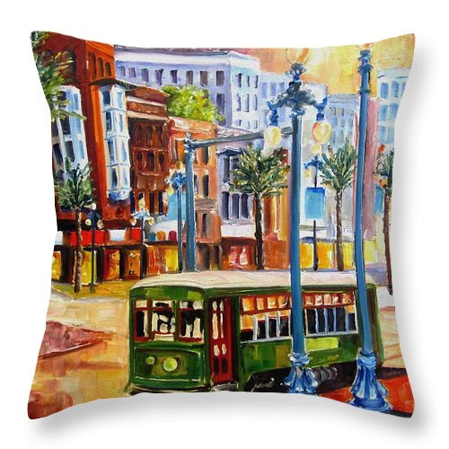 New Orleans Paintings Throw Pillow featuring the painting Streetcar On Canal Street by Diane Millsap