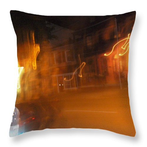 Photograph Throw Pillow featuring the photograph Streets On Fire by Thomas Valentine