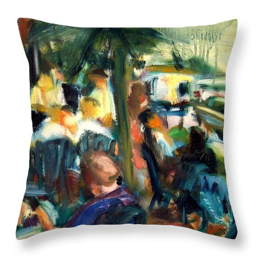 Dornberg Throw Pillow featuring the painting Streetside Cafe by Bob Dornberg