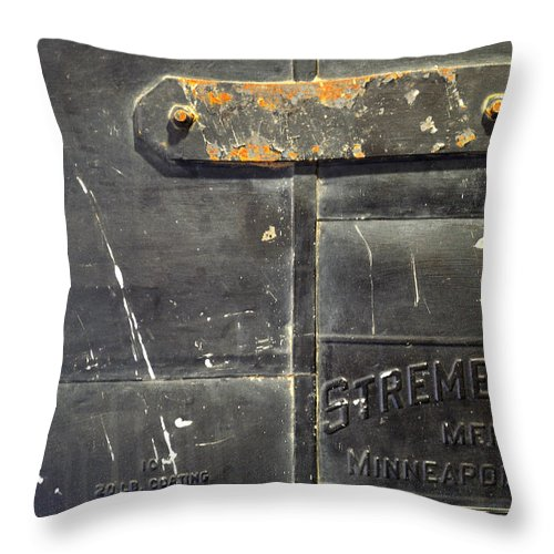 Firedoor Throw Pillow featuring the photograph Stremel Bros. Firedoor by Tim Nyberg