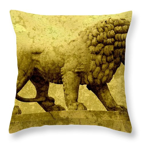Lion Throw Pillow featuring the photograph Strength by Carol Groenen