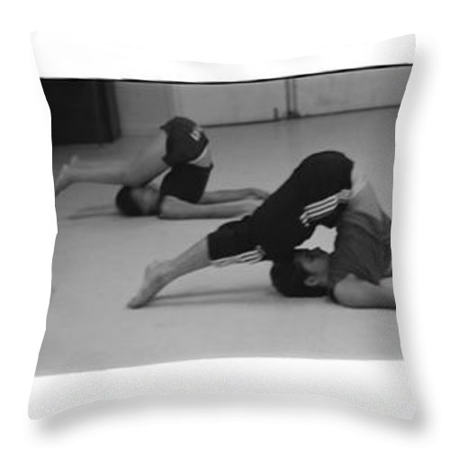Photo Photography Black And White Digital Graphic Photoshop Rehearse Rehearsal Practice Dance Jazz Ballet Modern Music Stretch Hold Tuck Bend Roll Arch Ball Head Neck Arm Body Leg Foot Feet Knee Room Chair Sofa Couch Floor Sit Seat Wall Door Rules Exit Inverse Negative Dark Throw Pillow featuring the photograph Stretch Bend And Roll by Heather Kirk