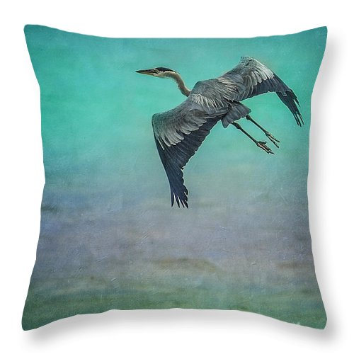 Heron Throw Pillow featuring the photograph Stretch Those Legs by Leena Hannonen
