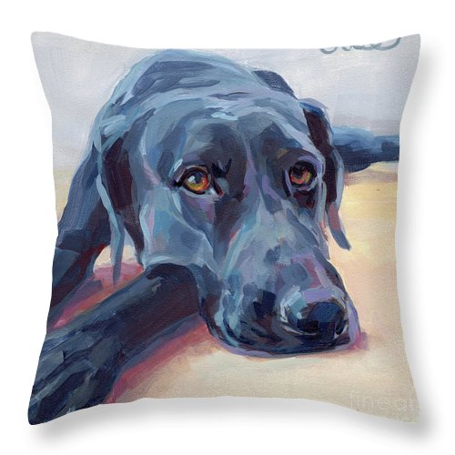 Black Lab Throw Pillow featuring the painting Stretched by Kimberly Santini