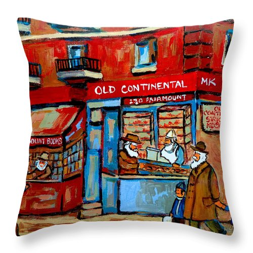 Old Continental On Fairmount Throw Pillow featuring the painting Strictly Kosher by Carole Spandau