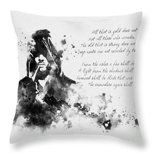 Lord Of The Rings Throw Pillow featuring the mixed media Strider Black And White by Rebecca Jenkins