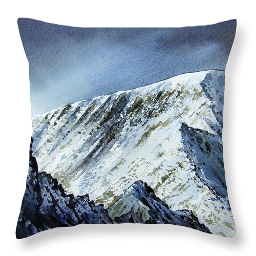 Mountain Throw Pillow featuring the painting Striding Edge On Helvellin by Paul Dene Marlor