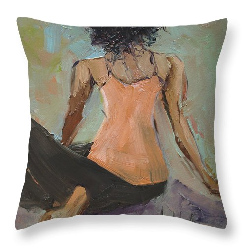 Figurative Throw Pillow featuring the painting Strike A Pose by Barbara Andolsek