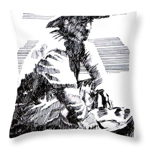 1850's Old West Throw Pillow featuring the drawing Striking It Rich by Seth Weaver
