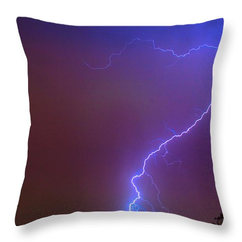 Lightning Throw Pillow featuring the photograph Striking Out by James BO Insogna