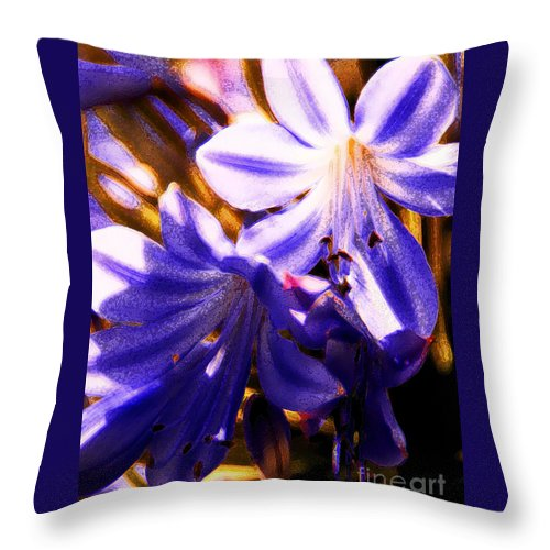 Floral Throw Pillow featuring the photograph Striped In Blue by Linda Shafer