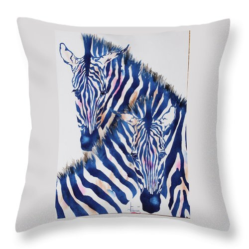 Zebras Throw Pillow featuring the painting Striped Love by Larry Johnson
