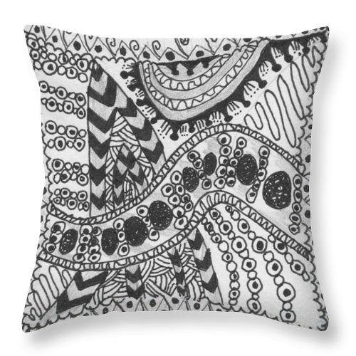 Zentangle Throw Pillow featuring the drawing Stripes by Carole Brecht