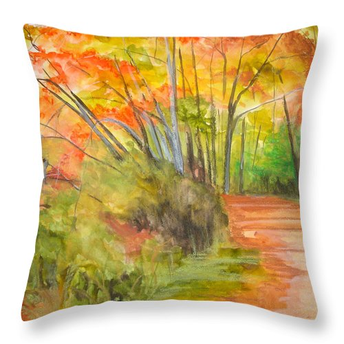 Landscape Throw Pillow featuring the painting Strolling Along The Canal by Jean Blackmer