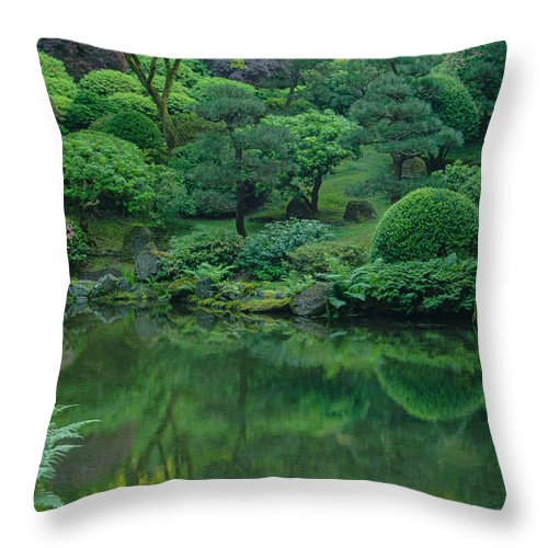 Portland Throw Pillow featuring the photograph Strolling Pond Serenity by Don Schwartz