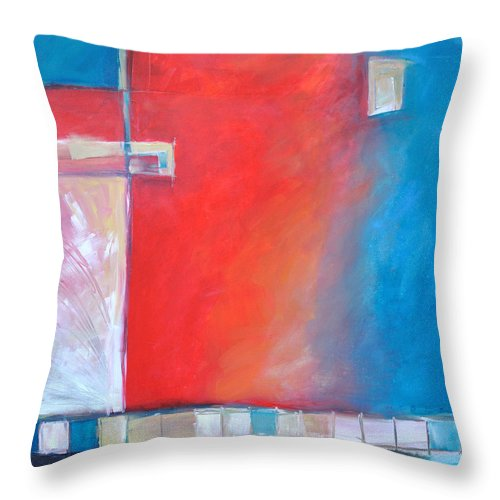 Abstract Throw Pillow featuring the painting Structures And Solitude Revisited by Tim Nyberg