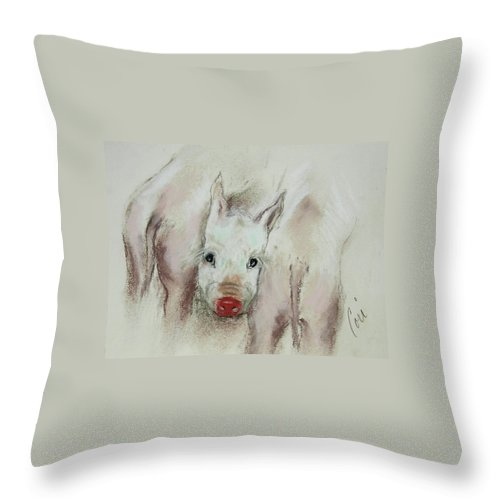 Animal Throw Pillow featuring the drawing Stuck In The Middle by Cori Solomon