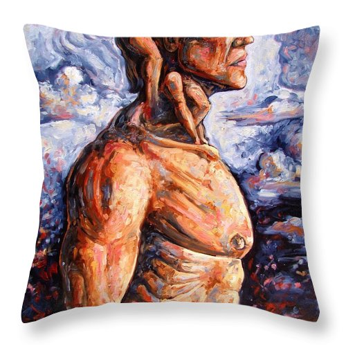 Surrealism Throw Pillow featuring the painting Stuck On You In My Unconscious Paradise by Darwin Leon