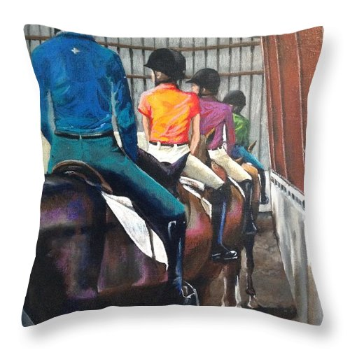 Horse Throw Pillow featuring the painting Students Learning by Kathy Laughlin