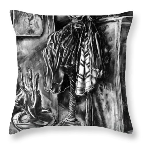 Overcoat Throw Pillow featuring the drawing Studio Coatrack by Al Goldfarb