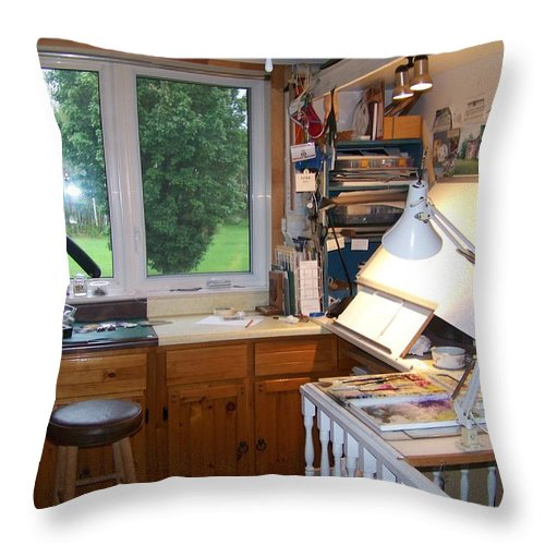 Throw Pillow featuring the photograph Studio by Jackie Mueller-Jones