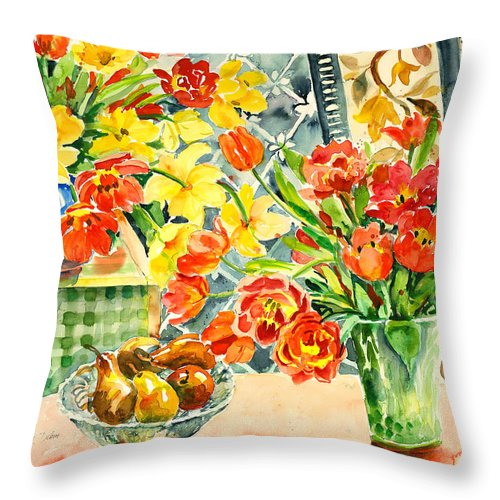 Watercolor Throw Pillow featuring the painting Studio Still Life by Alexandra Maria Ethlyn Cheshire
