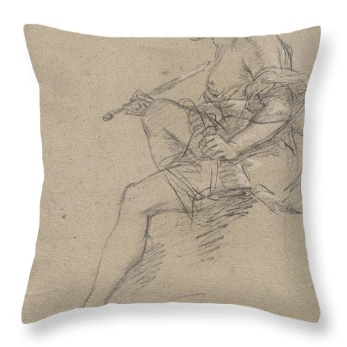 Throw Pillow featuring the drawing Study For An Allegory Of Painting by Etienne Parrocel
