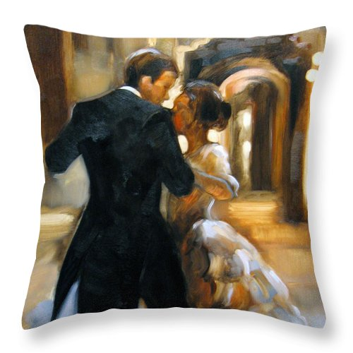 Figurative Throw Pillow featuring the painting Study For Last Dance 2 by Stuart Gilbert