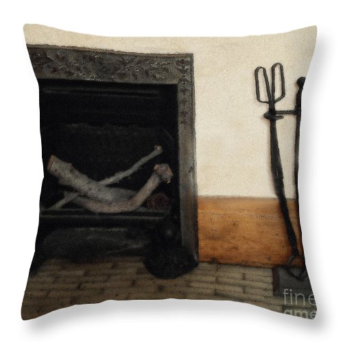 Fireplace Throw Pillow featuring the painting Study In Iron, Wood And Stone by RC DeWinter