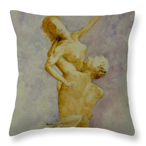 Nude Throw Pillow featuring the painting Study In Watercolour by Lizzy Forrester