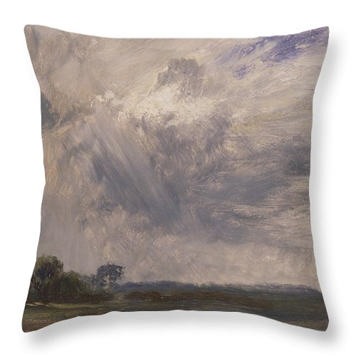 English Romantic Painters Throw Pillow featuring the painting Study Of A Cloudy Sky by John Constable