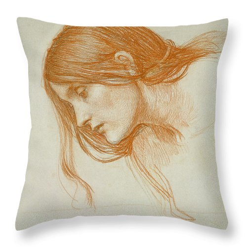 John William Waterhouse Throw Pillow featuring the drawing Study Of A Girls Head by John William Waterhouse