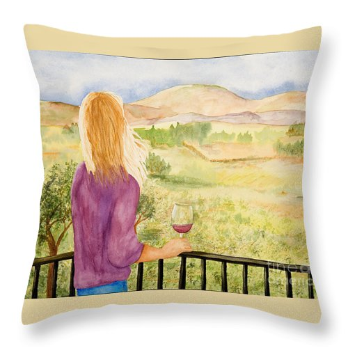 Wine Throw Pillow featuring the painting Study Of A Wine Ad by Vicki Housel
