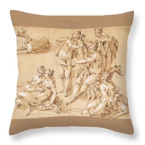 Hendrick De Clerck Throw Pillow featuring the drawing Study Of Diana With Her Nymphs And Hounds by Hendrick de Clerck