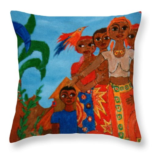 Study Throw Pillow featuring the painting Study To Motherland A Place Of Exile by Madalena Lobao-Tello