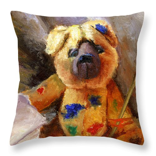 Teddy Bear Art Throw Pillow featuring the painting Stuffed with luv by Chris Neil Smith