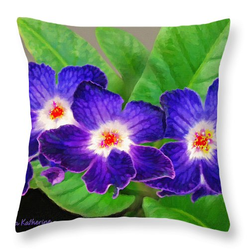 Flowers Throw Pillow featuring the painting Stunning Blue Flowers by Susanna Katherine