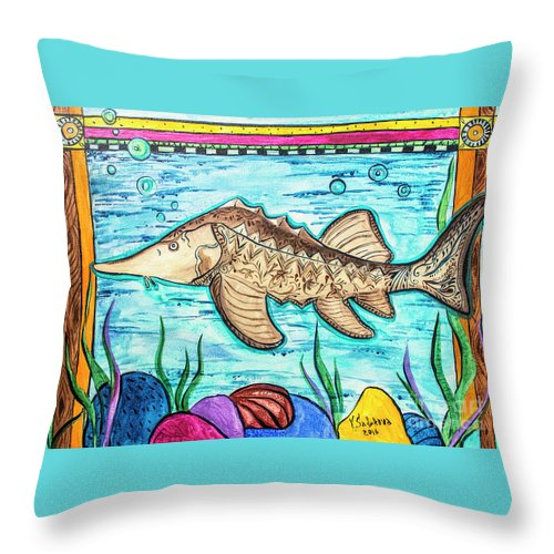 Fish Throw Pillow featuring the painting Sturgeon by Yana Sadykova