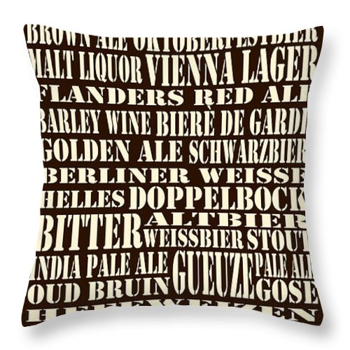 Beer Throw Pillow featuring the digital art Styles Of Beer by Trudy Clementine