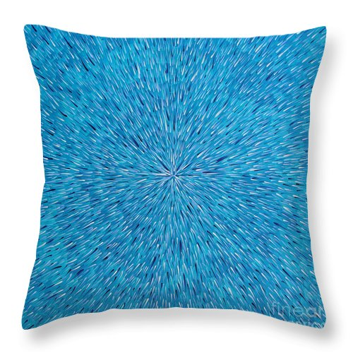 Abstract Throw Pillow featuring the painting Su Gaia Rain by Dean Triolo