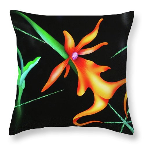 Orchid Throw Pillow featuring the painting Sublime by Heather Crowther