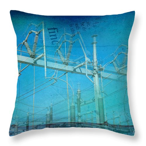 Substation Throw Pillow featuring the photograph Substation Insulators by Paulette B Wright
