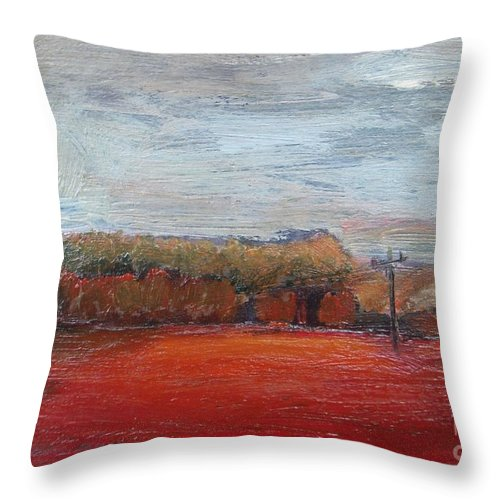 Landscape Throw Pillow featuring the painting Suburb In October by Vesna Antic
