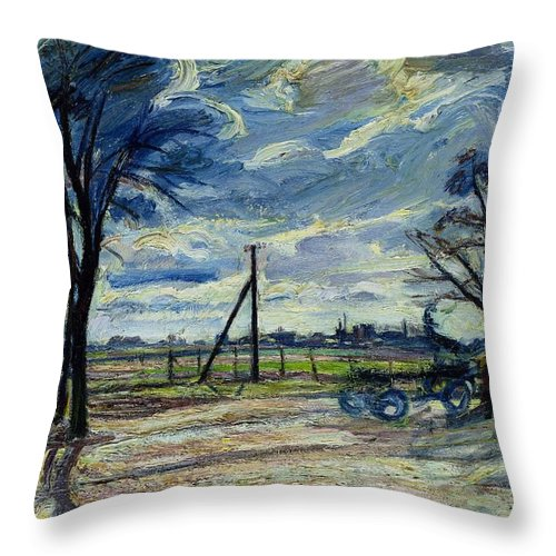 Suburban Throw Pillow featuring the photograph Suburban Landscape In Spring by Waldemar Rosler